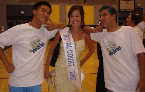 Ali Ward poses with Kelvin Pham (Left of Ward) as she is recognized for being voted on Royal Court.