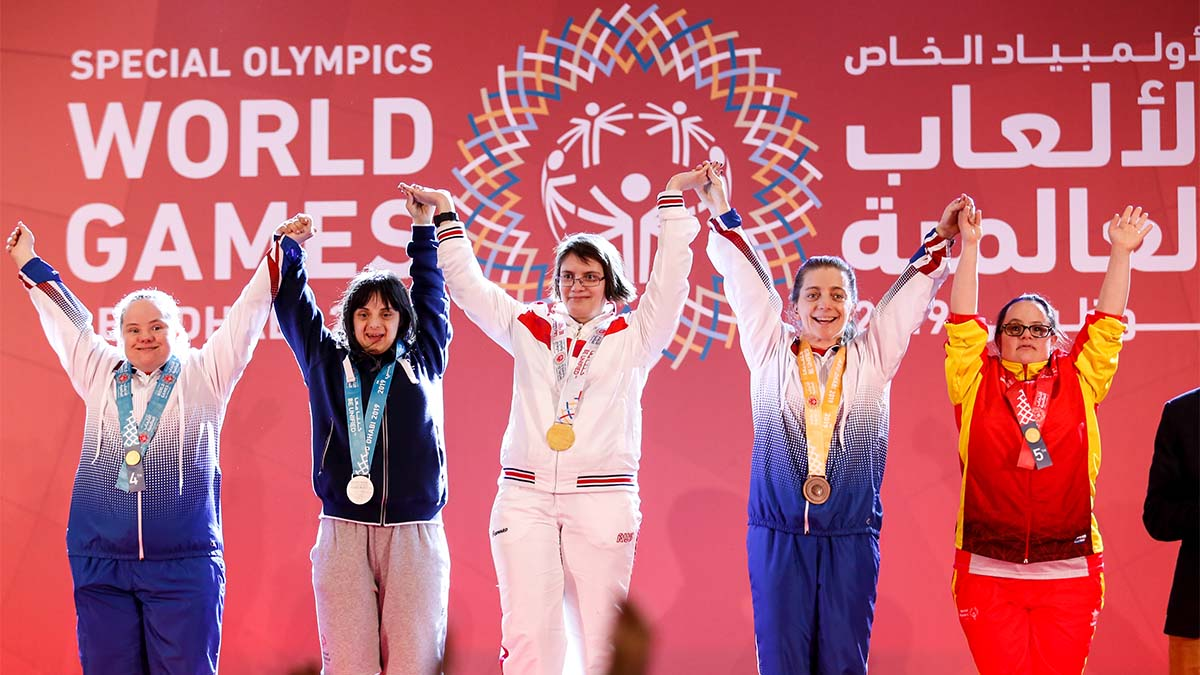 Athletes show their emotions when receiving their medals during declaration ceremony at the Special Olympics World Games in Abu Dhabi National Exhibition Centre. Special Olympics is a worldwide organization which organize sports competitions for people with learning difficulties. Summer World Games take place every 4 years. 7500 athletes from nearly 200 countries compete in 24 Olympic Sport disciplines in Abu Dhabi Games in 2019. (Photo by Dominika Zarzycka/NurPhoto via Getty Images)